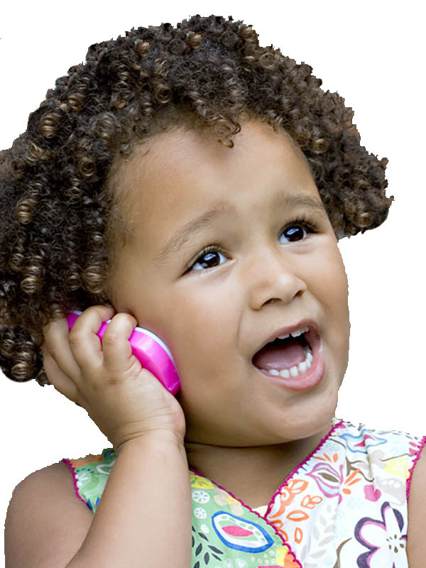 Young girl on toy phone