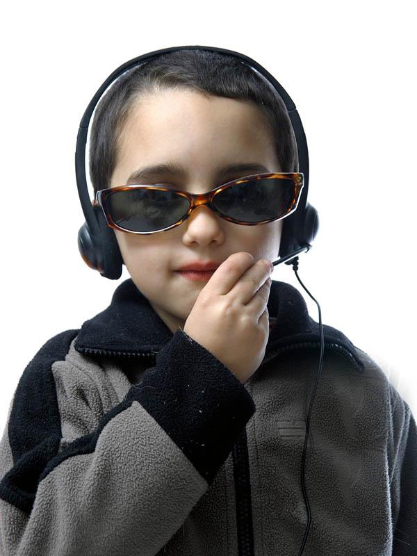 Child wearing headset.